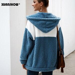 Image 5 - XUANSHOW 2019 Kış Kadın Coat Kapşonlu Gevşek Moda Uzun Kollu Kabarık Splice Kadın Üst Hoodies Sıcak Giysiler Tutmak S XL