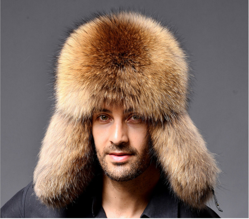 Real Raccoon Hats Men's Trapper Hats Fur&Lamb Leather Russian Cossack Trapper Hats Men's Winter Hats 2020 Fur Lamb Leather