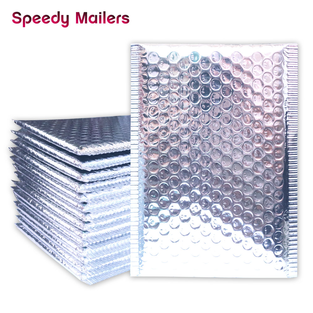 Speedy Mailers 10PCS/Lot 15x18cm Silver Aluminium Foil Bubble Mailer Bags Metallic Bubble Padded Envelope Shipping Bag