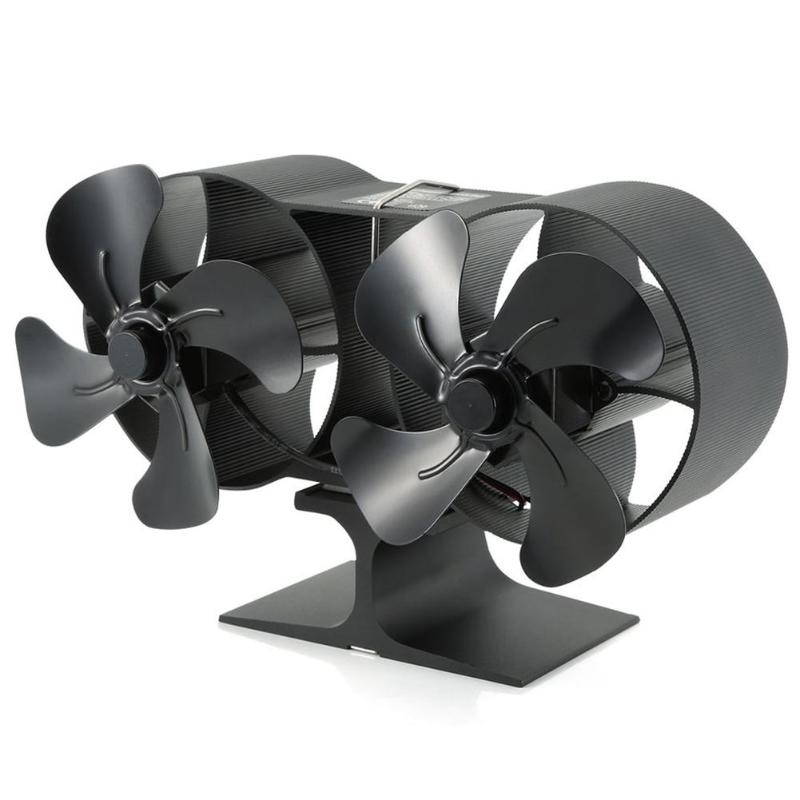 8 Blades Aluminum Stove Fan Heat Powered Burner Low Noise Heat Distribution Fan Heat Sink Home Ventilation Device