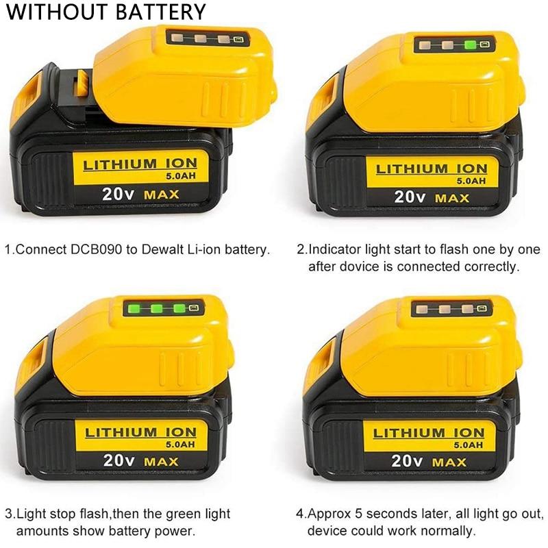 20v li-ion bateria conversor dcb090 usb dispositivo