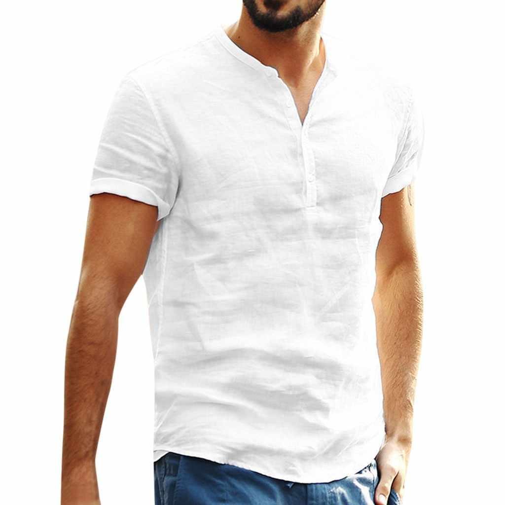 メンズ無地ルーズコットンリネンシャツボタンシンプルなカジュアル半袖シャツオフィス通気性の快適さトップス gomlek # d