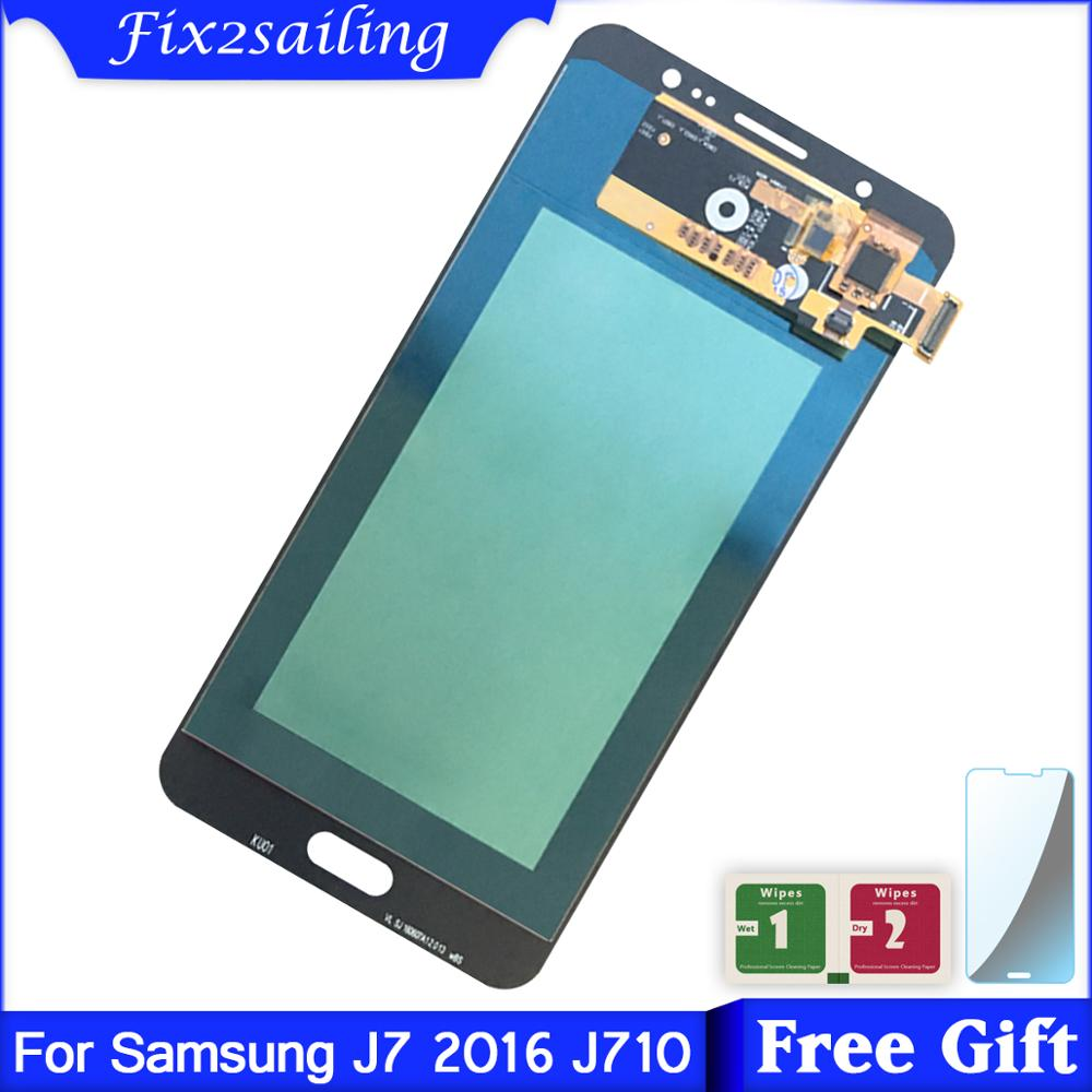 Super AMOLED <font><b>LCD</b></font> <font><b>Display</b></font> Für <font><b>Samsung</b></font> Galaxy J710 SM-J710FN/DS <font><b>J7</b></font> <font><b>2016</b></font> J710M J710H <font><b>LCD</b></font> <font><b>Display</b></font> + Touch Screen digitizer Montage image