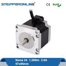 Nema23 шаговый двигатель двойной вал 1.26Nm(178.4oz.in) 56 мм(Национальная ассоциация владельцев электротехнических предприятий 23) шагового двигателя 2.8A 4-свинец 8 мм вал для ЧПУ лазер