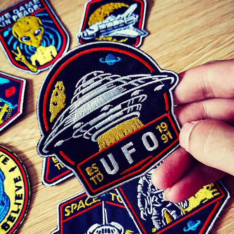 Parches bordados para ropa bordado/espacio parche UFO Alien hierro en parches en ropa rayas ganchos DIY lazo parche para coser