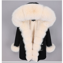 winter women's clothing The new faux fur Lining parka Oversized Fox Fur collar real fur coat casual loose jacket woman long coat(China)