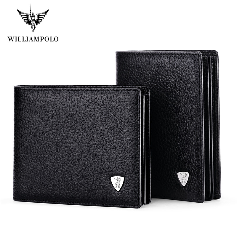 WilliamPolo short Wallet mens slim Credit Card Holder Bifold Genuine Leather mini Multi Card Case Slots Cowhide Leather Wallet