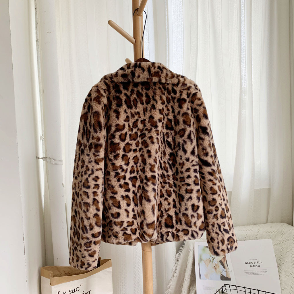 CHAMSGEND Chic Womens Leopard Print Streetwear Winter Slim Faux Fur Jacket Coat Clothes Autumn Office Warm Ladies Outerwear 1003