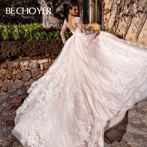 Image 2 - Vestido de Noiva Sweetheart Long Sleeve Wedding Dress Fashion Appliques A Line Court Train Princess Bride Gown BECHOYER K182