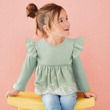 Little maven children brand baby girl clothes 2019 autumn new girls long sleeve flower print fold t shirt 51538