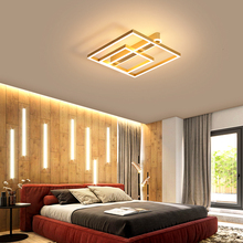 Brown/Gold  led chandelier Lights Square modern for study room lights bedroom lustre lighting fixtures