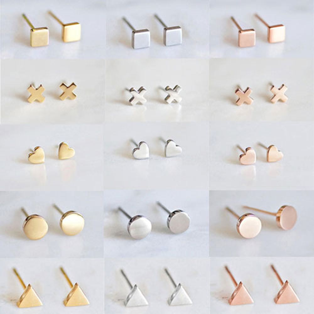 Estilo coreano brincos de aço inoxidável para as mulheres minimalista pequenos brincos moda jóias meninas dainty brincos conjunto