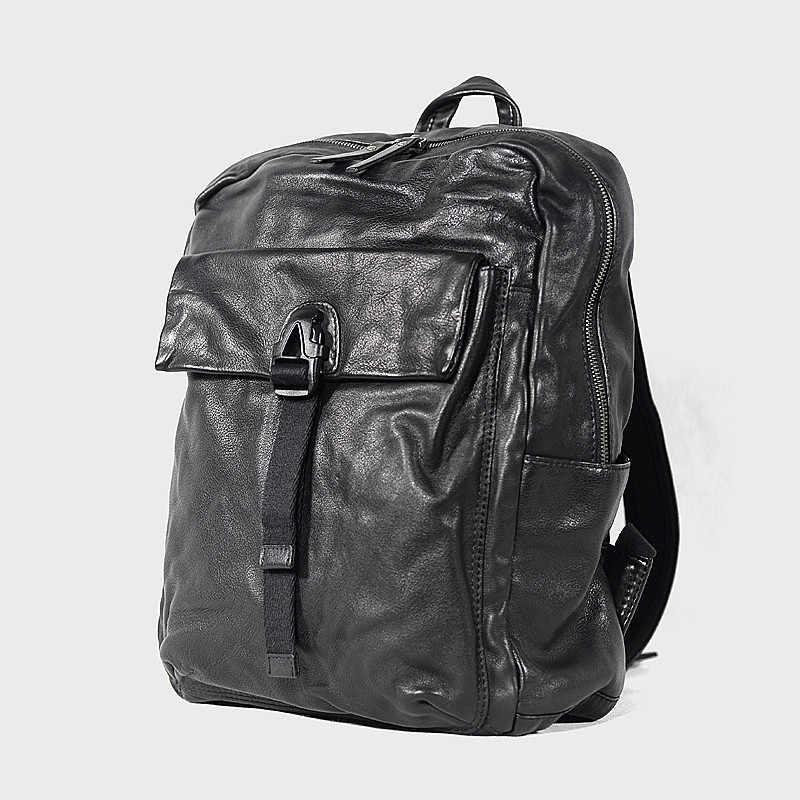 PNDME Повседневный высококачественный мужской женский рюкзак из натуральной кожи, Модный Роскошный Черный дорожный рюкзак из мягкой воловьей кожи для ноутбука