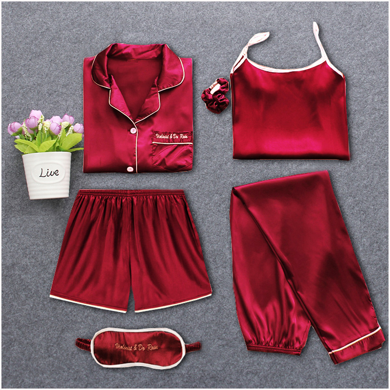 Strap Sleepwear Pyjamas Womens 7 Pieces Pink Pajamas Sets Satin Silk Lingerie Homewear Sleepwear Pyjamas Set Pijamas For WomanPajama Sets   -