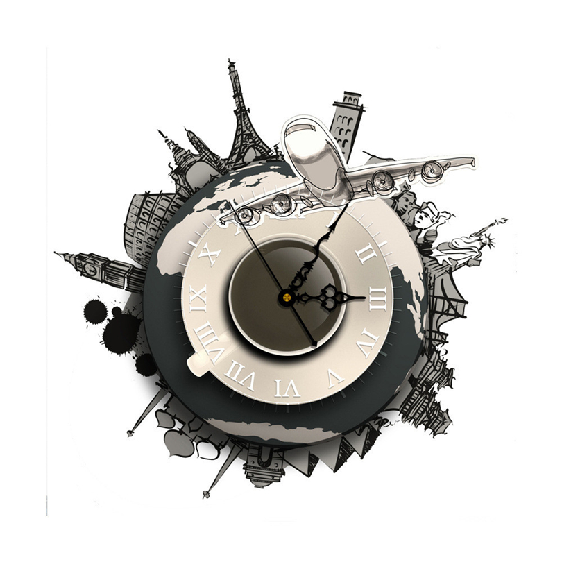 1Pcs DIY 3D Wall Sticker Clock World Earth Wall Decal Clock 3D Art Wall Clock 400x400mm Home Decor DIY Clock Gift For Kids J50