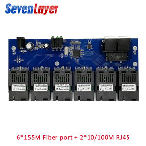 10/100M 2 RJ45 6 155M SC fiber Port Fast Ethernet switch Converter 20KM Ethernet Fiber Optical Media Converter PCBA(China)