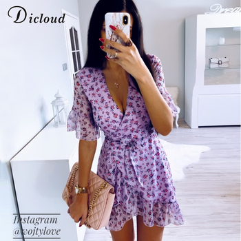 Women Lilac Floral Wrap Dress Summer  2
