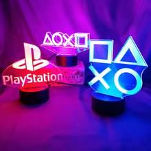 Настольная подсветка для игровой комнаты 3D PS, декоративный визуальный светодиодный ночник для настольной игровой консоли, контроллер с ико...
