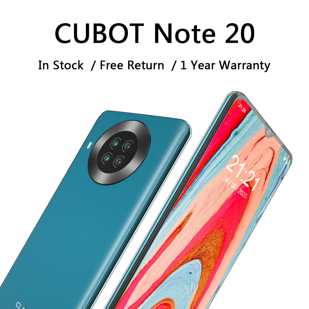 Cubot-teléfono inteligente Note 20, teléfono móvil con pantalla HD de 6,5 pulgadas, batería de 4200mAh, NFC, Android 10,0, Quad cámara trasera, 64gb Rom