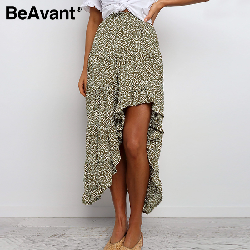 BeAvant Bohemian Summer Ruffles Skirts Women 2020 Floral Print Asymmetric Midi Skirt Casual Ladies Long Skirt High Waist Beach