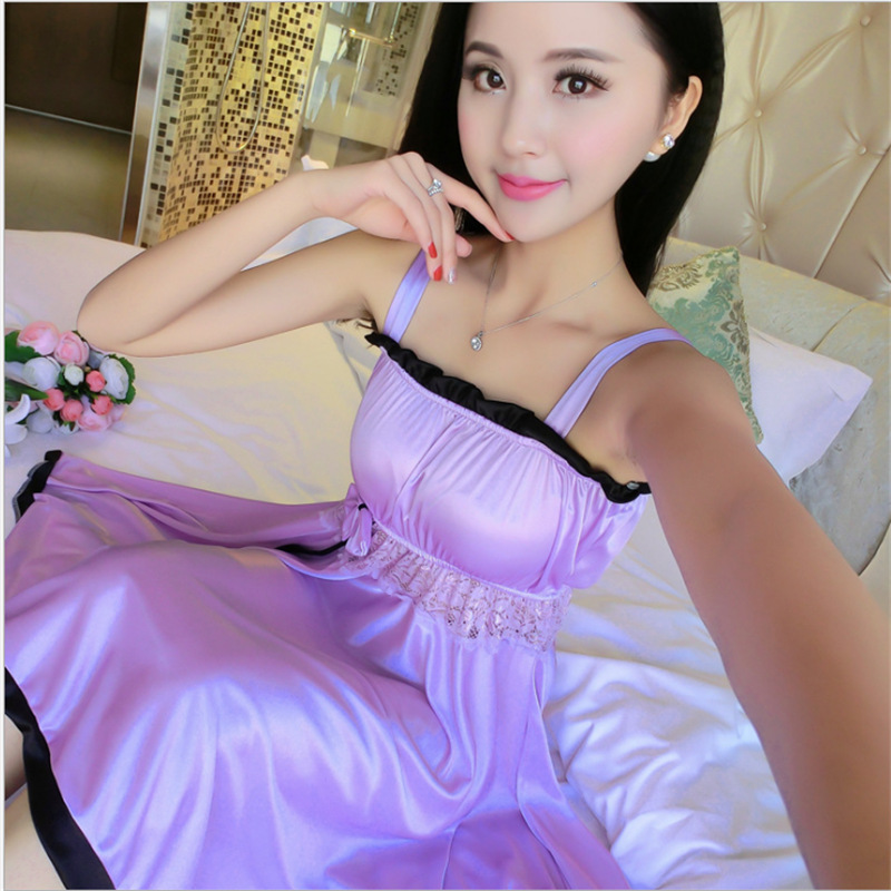 [With Chest Pad] Sexy Slip Nightdress Women's Summer Spring Lace Temptation Pajamas Large Size Viscose Nightgown Tracksuit