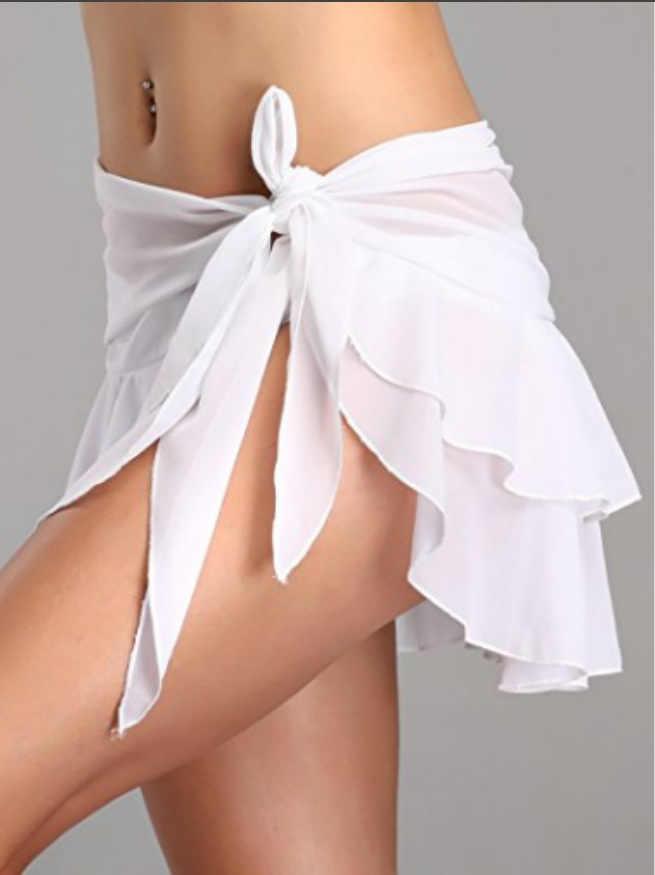 1PCs 여름 해변 커버 스커트 여성 쉬폰 비치웨어 짧은 입욕 수영 드레스 비키니 원근법 거즈 스커트 4 색