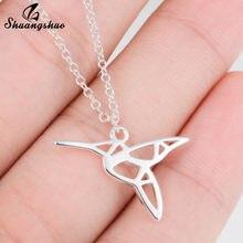 Colliers et pendentifs colibri en acier inoxydable pour femmes, nouveaux bijoux ras du cou, animaux mignons, Origami, oiseaux, cadeaux de fête
