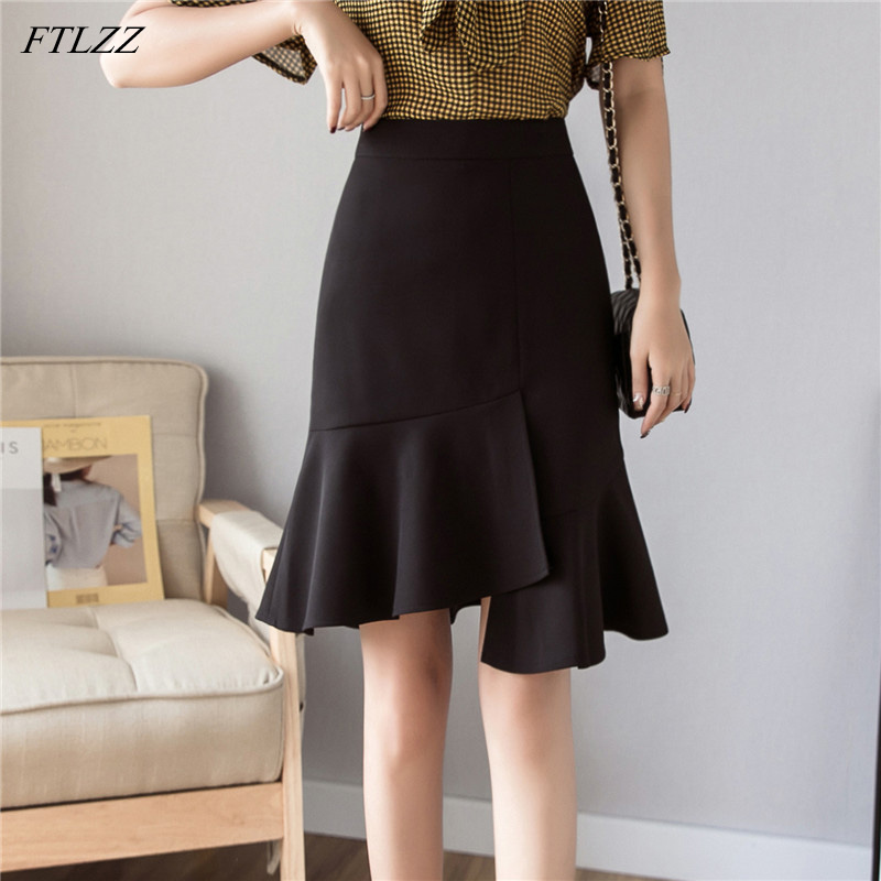 FTLZZ 2020 New Women High Waist Black Midi Mermaid Skirt Casual Spring Summer Female Irregular White OL Knee-length Skirts