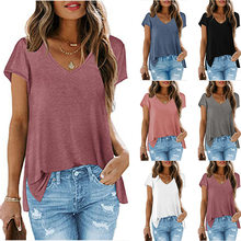 2021 Summer Women T-shirts New Fashion Solid Color V-Neck Short Sleeve Tee Split Soft Good Fabric Cloth Female Loose Top