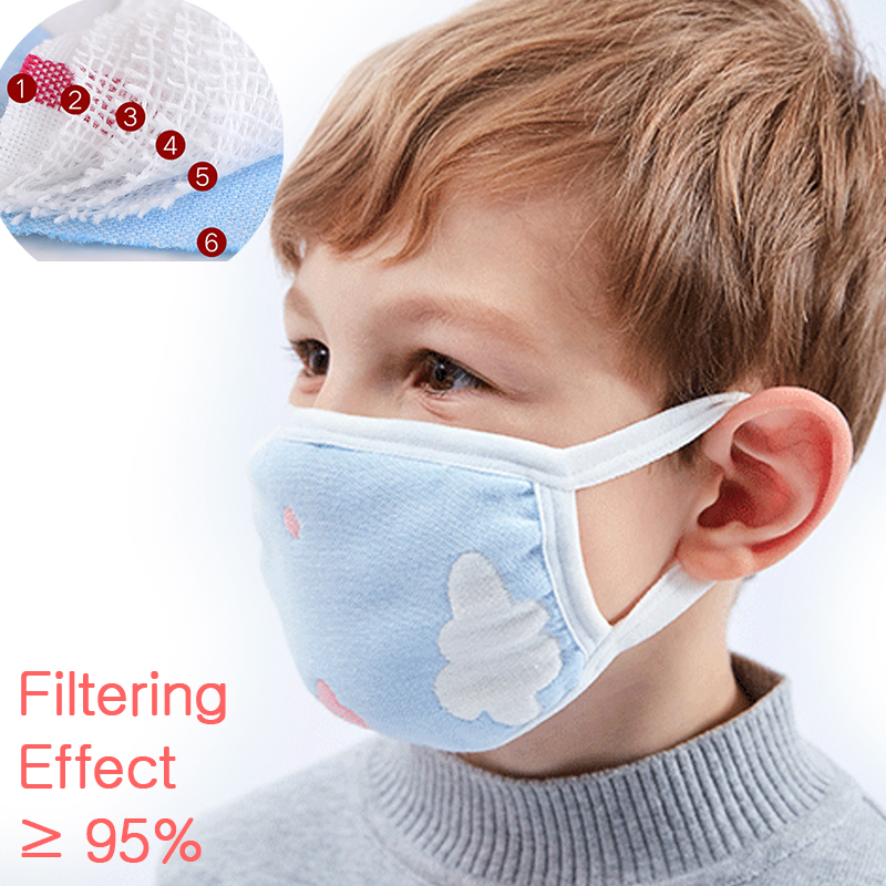 2/4 PCS Baby Protective Gauze Masks Cotton Gauze Masks Breathable Comfortable For Kids Children Layers Gauze Masks Anti-fog