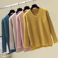 Fashion V Neck Sweater Women 2019 Winter Casual Knitted Pullover Autumn Top Solid Long Sleeve Cashmere Jumper Pull Femme