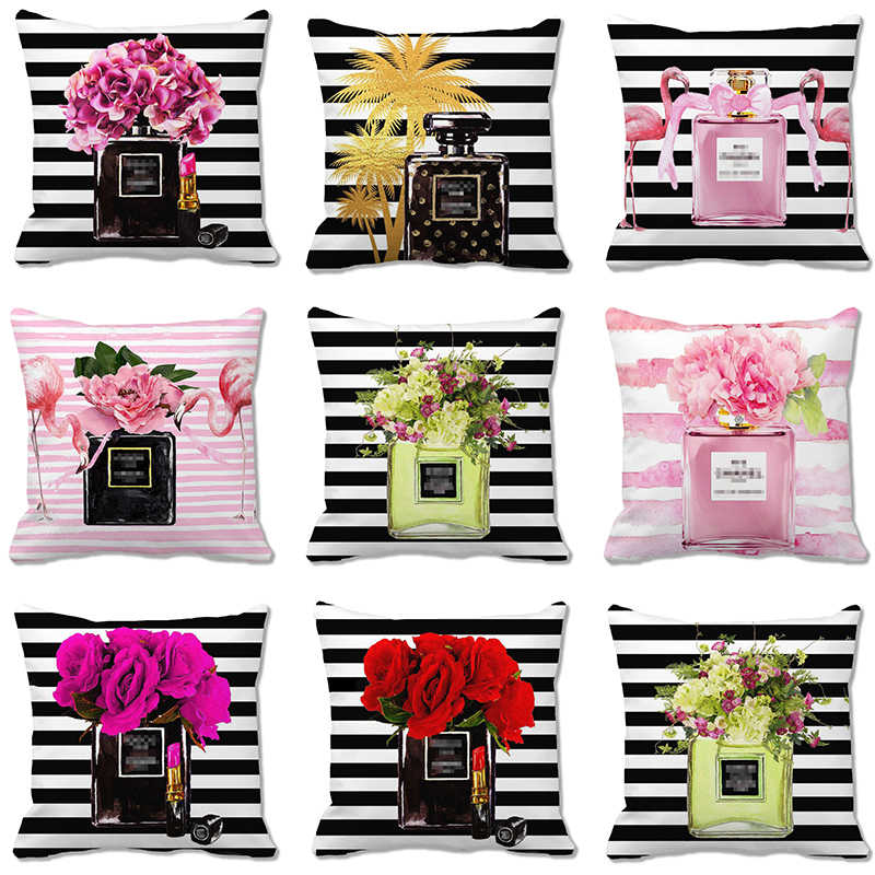 45cm*45cm watercolor Perfume bottles and flowers design cushion cover super soft sofa  pillow cover decorative pillow case