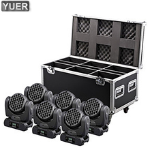 4pcs/lot With A Flight Case For 4pcs Led Beam Moving Head Light 36x3W RGBW Color DMX DJ Sound Activated MIni Stage Lights