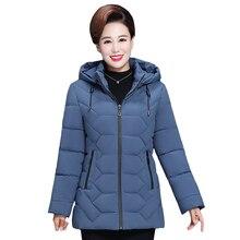 Più il Formato 5XL di Mezza età Inverno Delle Donne Giacca Corta 2020 Cotone Con Cappuccio Donne Cappotto di Spessore Casual Madre Giacca Invernale donne Parka