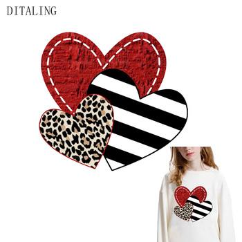 Leopard Heart Patch Stripe czerwona miłość naklejka termiczna na ubrania koszulka DIY urocza dziewczyna termotransferowy na ubrania łatka do prasowania tanie i dobre opinie DITALING CN (pochodzenie) As The Picture HANDMADE Przyjazne dla środowiska PRINTED Plastry Do przyprasowania Tak ( 50 sztuk)