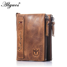 New 100% Genuine Leather Men Wallet Small Mini Card Holder Male Walet Pocket Retro Purse High Quatily Solid Color