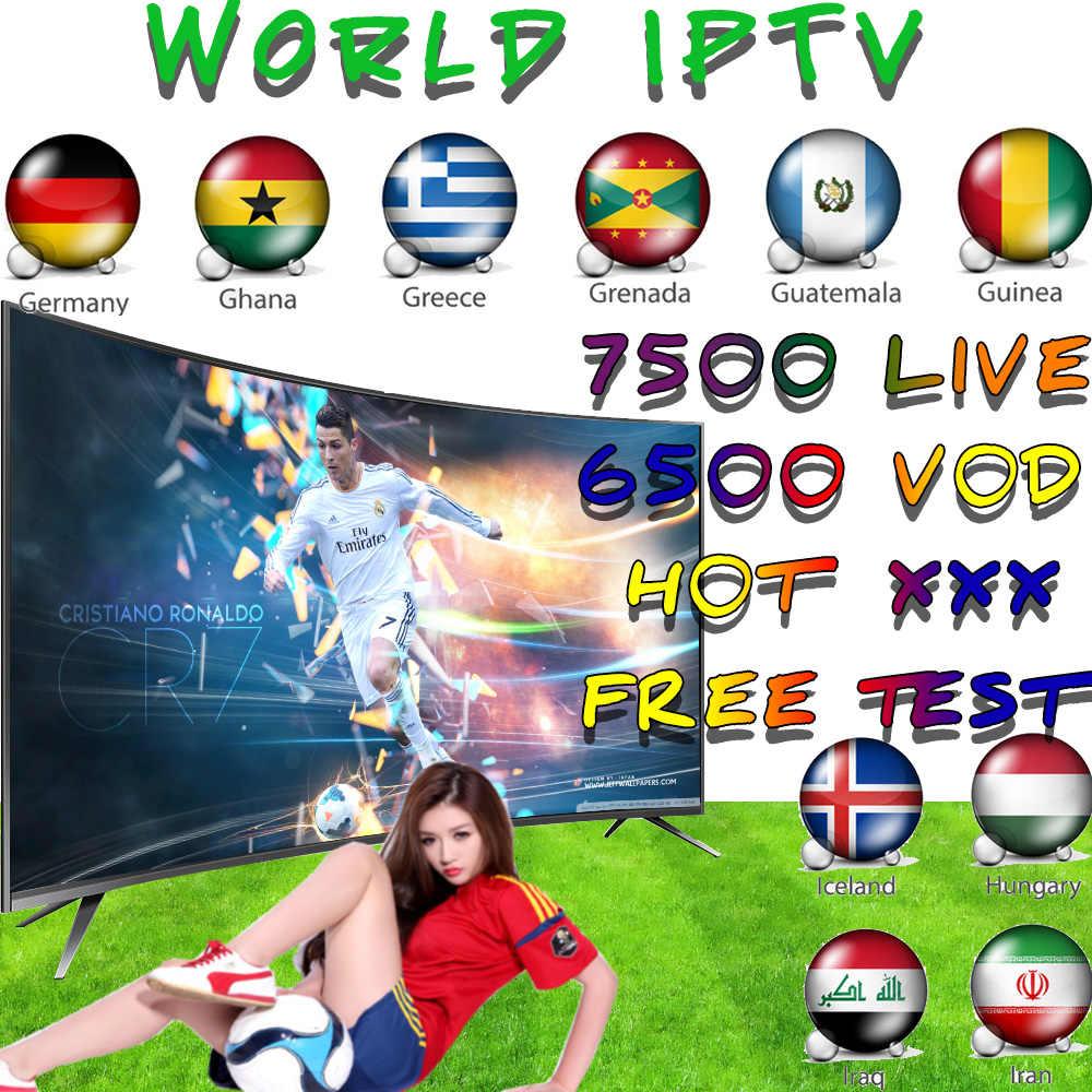 Mundo en IPTV 7500 + libre deportes adultos Xxx de la caja de Tv Ssmart Android Tv caja de Ssmart Tv Pc m3u Local Tv en directo Movistar XXX