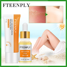 FTEENPLY Facial Body Sunscreen Cream Astaxanthin Serum Effective Prevent Sunburn Hyaluronic Acid Repair Sunburn Nourishing 2PCS