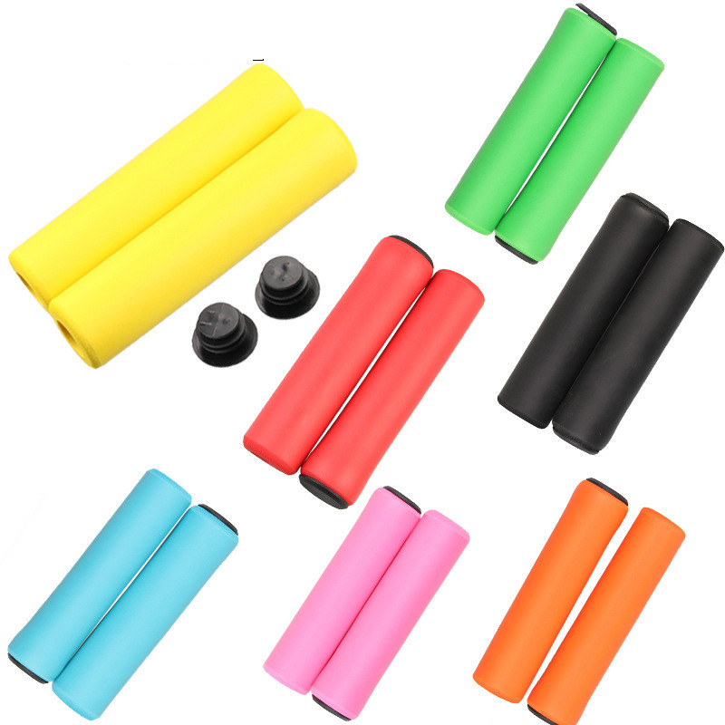 1Pair Bicycle Handle Bar Grips Mountain Bike Grips Silicone Anti-slip Handlebar Anti-skid Shock-absorbing Super Soft MTB Grips