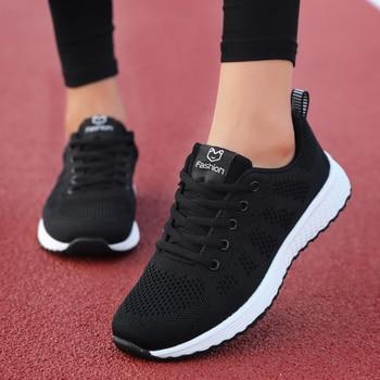 Mulher sapatos casuais moda respirável andando malha rendas até sapatos planos tênis feminino 2019 tenis feminino rosa preto branco