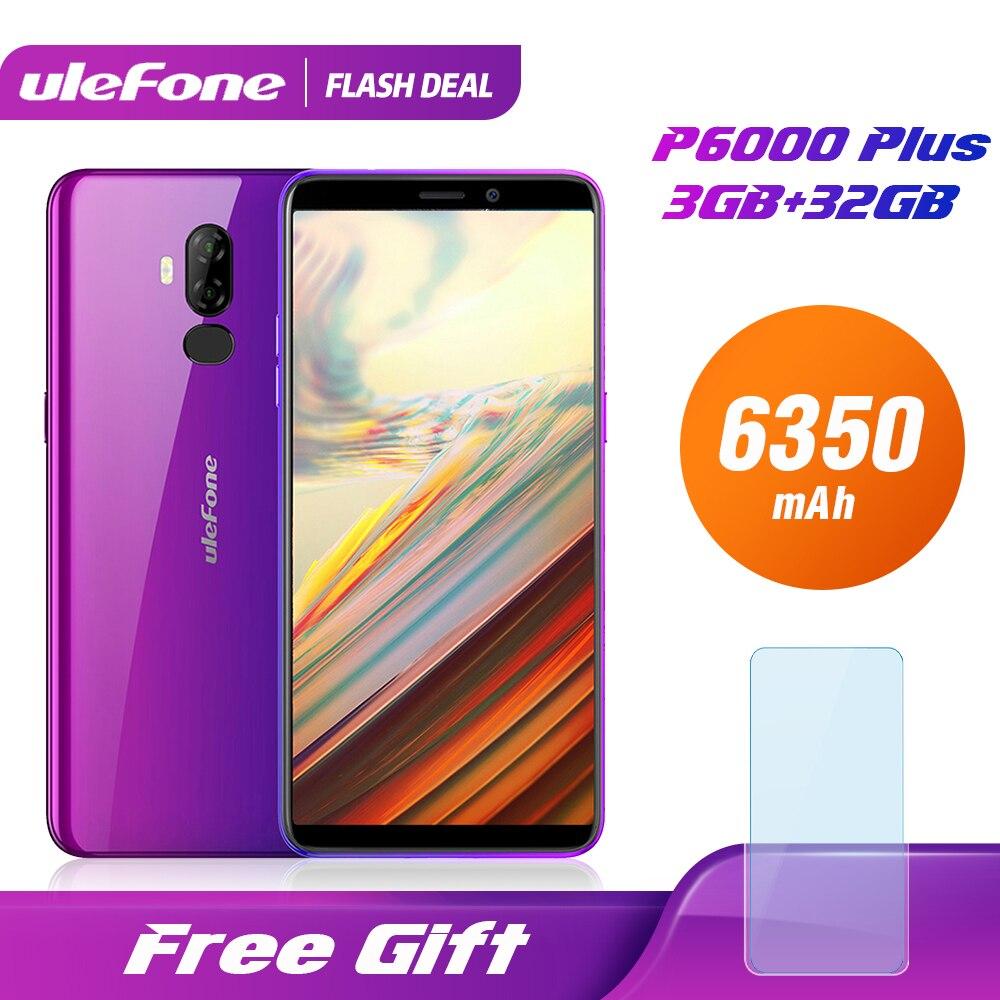 Smartphone Ulefone P6000 Plus 6350mAh Android 9.0 6 pouces HD + double caméra Ouad Core 3GB 32GB téléphone portable 4G téléphone portable Android