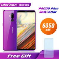 Ulefone p6000 plus 6350 mah smartphone android 9.0 6 polegada hd + duplo câmera ouad núcleo 3 gb 32 gb telefone celular 4g celular android