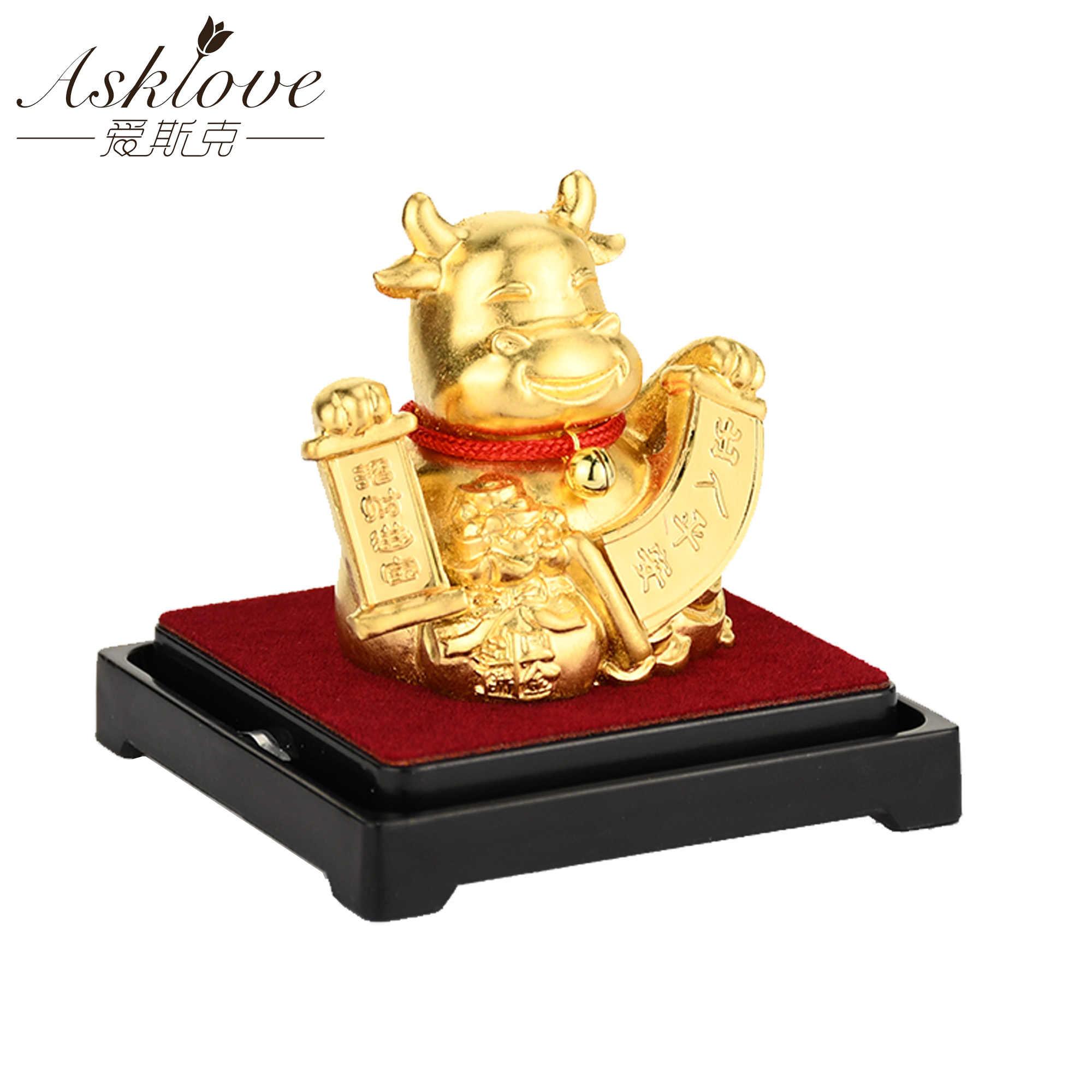 Zodíaco chinês coletar riqueza ornamentos 24k folha de ouro fengshui decoração dragão/rato/porco/macaco carro sorte artesanato decoração do escritório em casa