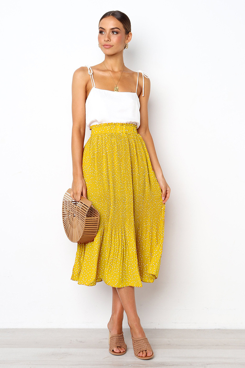 H06388e70f2ad4686a1e5b4c31c72c746B - Summer Casual Chiffon Print Pockets High Waist Pleated Maxi Skirt Womens Long Skirts For Women