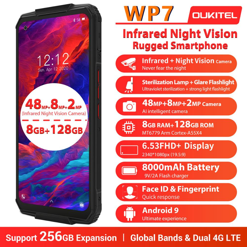 "OUKITEL WP7 8000mAh 6.53"" Infrared night vision Mobile Phone 8GB 128GB Octa Core 48MP Triple Cameras Rugged Smartphone"