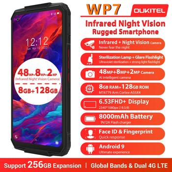 OUKITEL WP7 8000mAh 6.53'' Infrared night vision Mobile Phone 8GB 128GB Octa Core 48MP Triple Cameras Rugged Smartphone