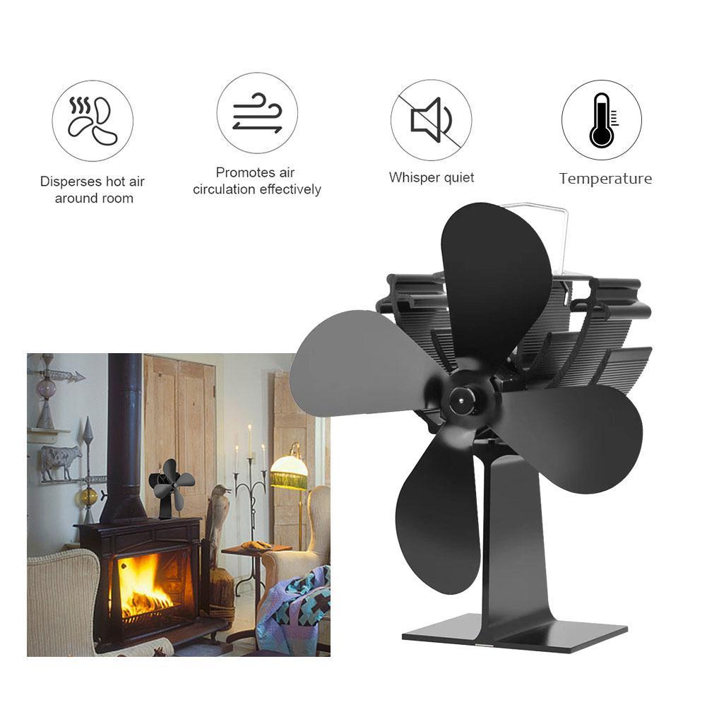 Fireplace Temperature Monitoring Thermodynamic Fireplace Fan Winter Warm Efficient Heat Powered Stove Fan