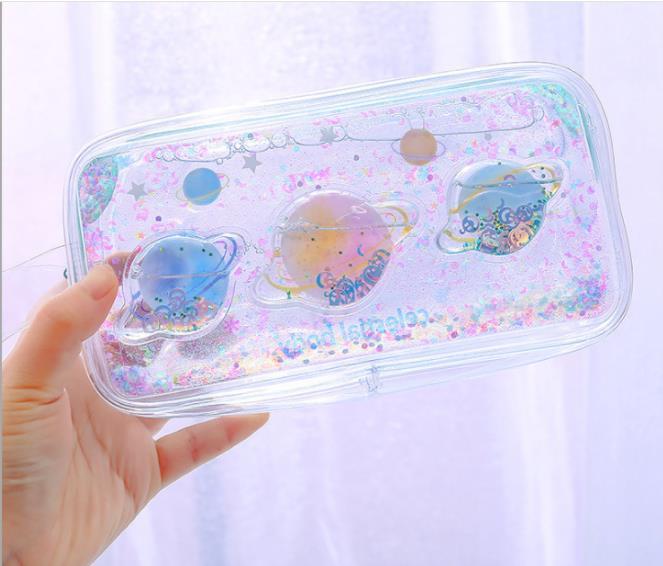 Transparent Into The Oil Quicksand Pen Bag Cute Pen Box Makeup Package Super Fire Art Girl Heart Pencil Box