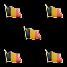 5PCS Belgium Waving Flag Lapel Pins Fashion Flag Badge Pin Epoxy Medal Brooches Gifts 5pcs panama souvenir epoxy multicolor waving national flag lapel pins and brooch fashion badge medal decorations