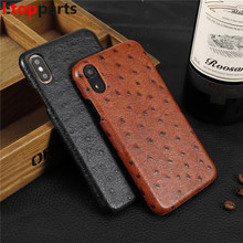 Genuine Cowhide Leather Phone Case For iPhone X XS XR Max Ostrich Grain Armor Coque 7 8 Plus luxury marvel funda
